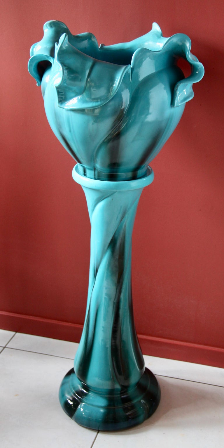 Art Nouveau Turquoise Majolica Jardinière 'Planter and Stand', J. Massier Vallauris Signed For Sale