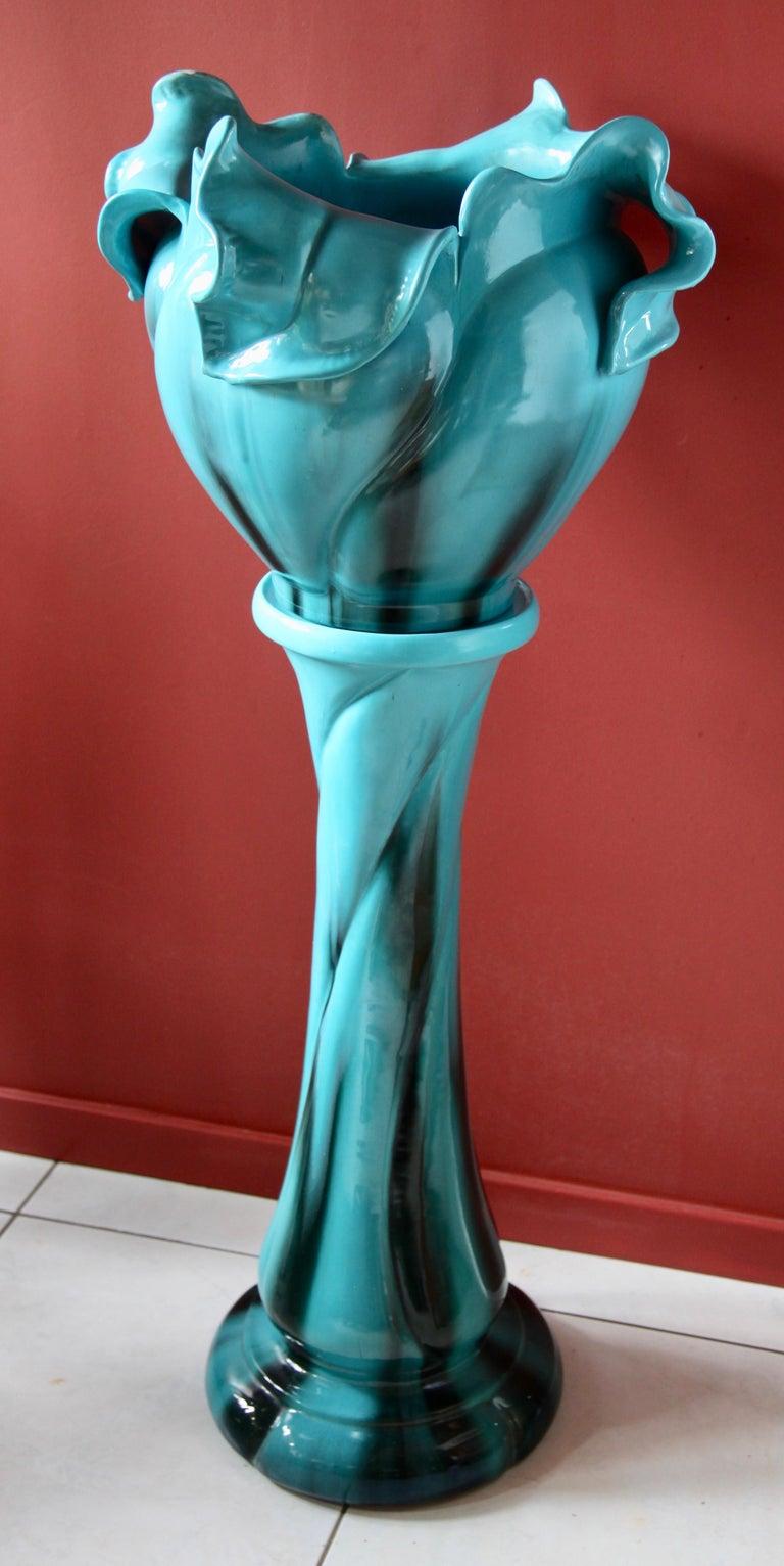 Art Nouveau Turquoise Majolica Jardinière 'Planter and Stand', J. Massier Vallauris Signed For Sale
