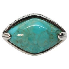 Turquoise Marquise Cabochon Sterling Silver Ring