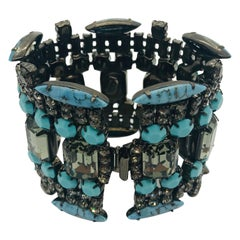 Turquoise Matrix and Black Diamond Austrian Crystal Flex Cuff Bracelet