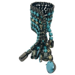 "Turquoise Matrix and Black Diamond Austrian Crystal Fringe ""Cab Hailer"" Bracelet"