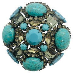 "Turquoise Matrix and Black Diamond Austrian Crystal ""Maltese Cross Brooch"""