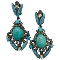 Turquoise Matrix and Black Diamond Austrian Crystal Pendant Drop Earrings