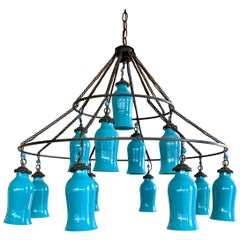 Liza Sherman Egyptian Three Tier Turquoise Milk Glass Large 12 Light Chandelier