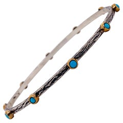 Turquoise Mixed Metal Bangle Bracelet 'only one'