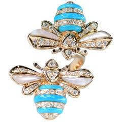 Turquoise Diamond 18 Karat Rose Gold Bee Ring