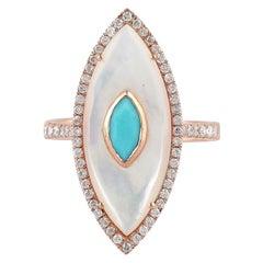 Turquoise Pearl Diamond 14 Karat Gold Ring
