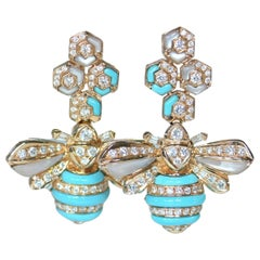 Turquoise Mother of Pearl Diamond Bee Earrings