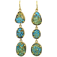 Turquoise Mountain 22 Karat Gold 3-Tier Dangle Earrings