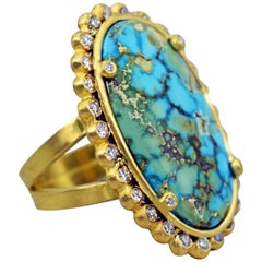 Turquoise Mountain Diamond Halo 22 Karat Gold Cocktail Ring