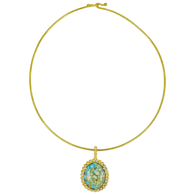 Turquoise Mountain Diamond Halo 22 Karat Gold Pendant on Wire Necklace