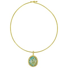 Turquoise Mountain Diamond Halo 22 Karat Gold Pendant on Wire Necklace