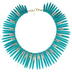 Turquoise Necklace with 4.03 Carat White Diamond and 0.24 Carat Ruby