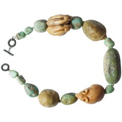 Turquoise Netsuke Silver Necklace