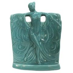 Turquoise Nude Art Deco Goddess Ceramic Planter