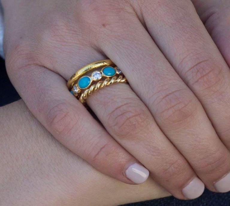 Women's Turquoise and Old European Cut Diamonds Set in a Yellow Gold Eternity Band For Sale