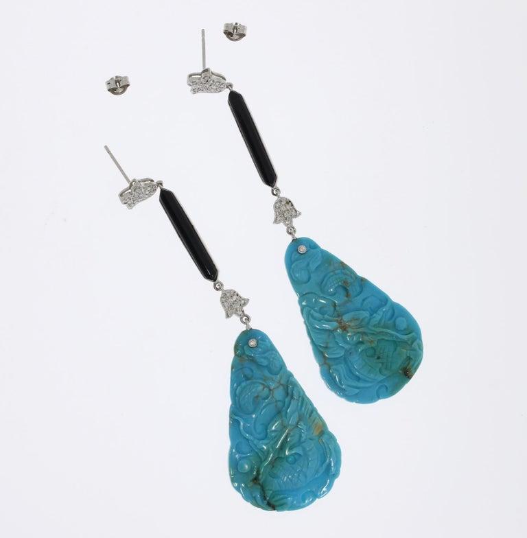Brilliant Cut Turquoise Onyx Diamonds Dangle Earrings For Sale