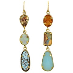 Turquoise, Opal, and Amber Multi-Gemstone 22 Karat Gold Dangle Earrings