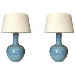 Turquoise Pair of Lamps, China, Contemporary