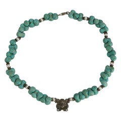 Turquoise Pearl and Sterling Silver Egyptian Goddess Necklace Estate