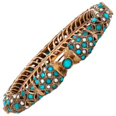 Turquoise Pearl Bangle Cuff