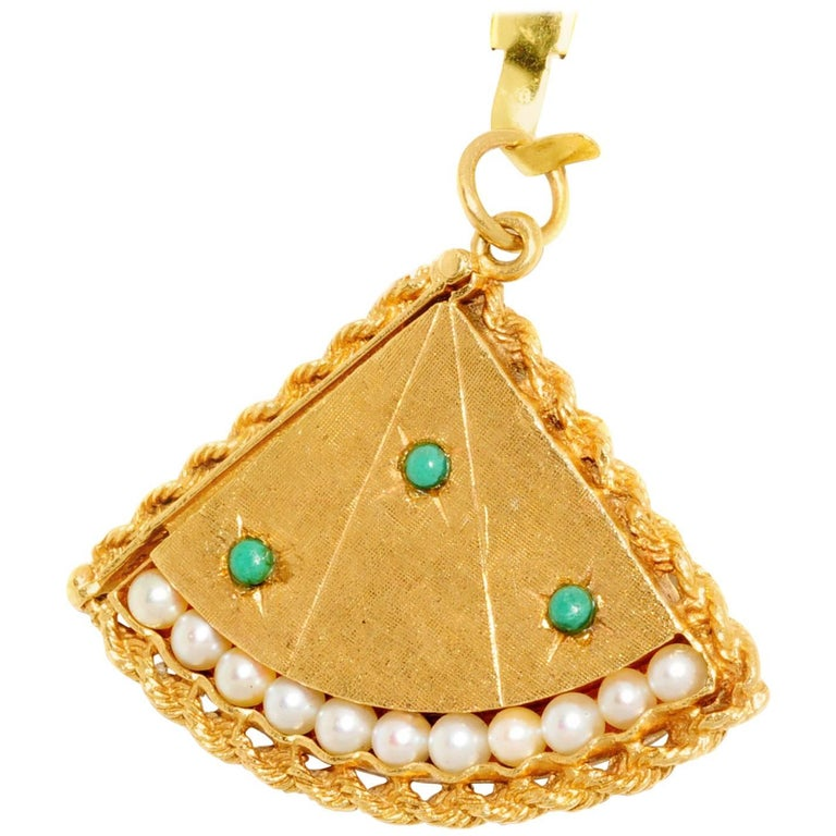 Turquoise Pearl Yellow Gold Fan Locket For Sale