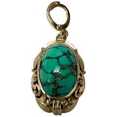 Turquoise Pendant Antique 14 Karat Gold