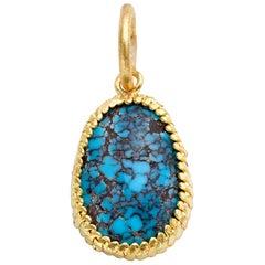 Turquoise Pendant in 22 Karat Yellow Gold