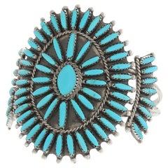 Turquoise Petit Point Cuff by Mathilda Benally Navajo