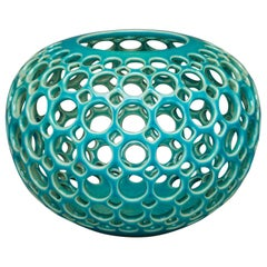 Turquoise Pierced Orb Shaped Tabletop Sculpture/ Candleholder