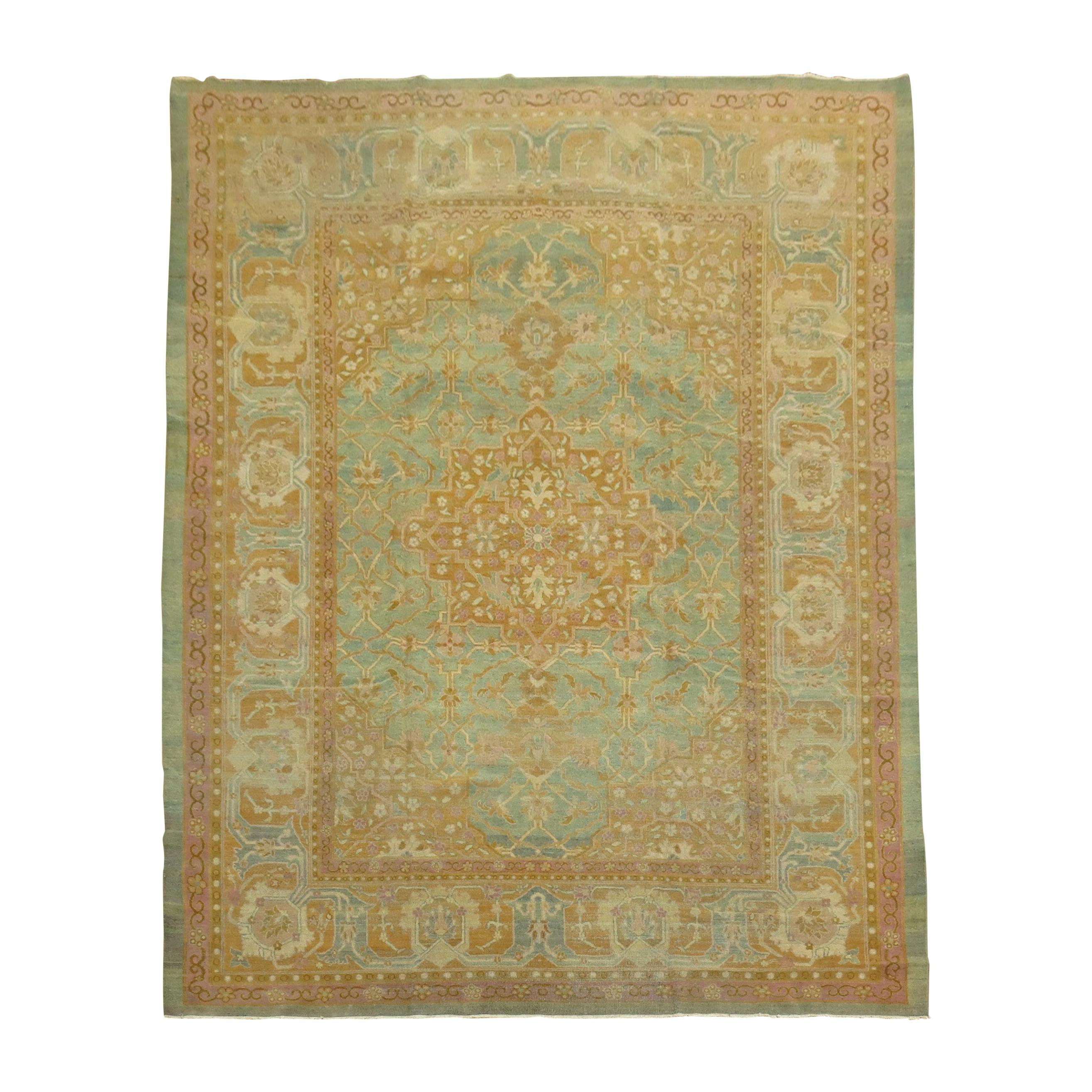 Turquoise Pink Antique Indian Amritsar Room Rug