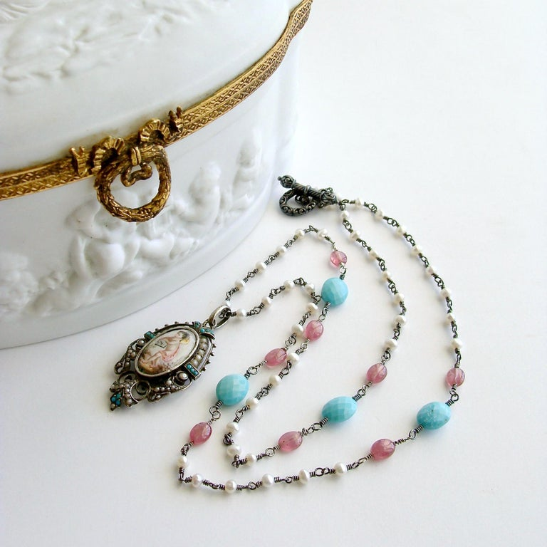 Turquoise Pink Sapphire Pearl Rubies Georgian Porcelain Mourning Locket Necklace In New Condition For Sale In Scottsdale, AZ