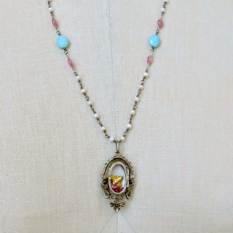Turquoise Pink Sapphire Pearl Rubies Georgian Porcelain Mourning Locket Necklace For Sale 2