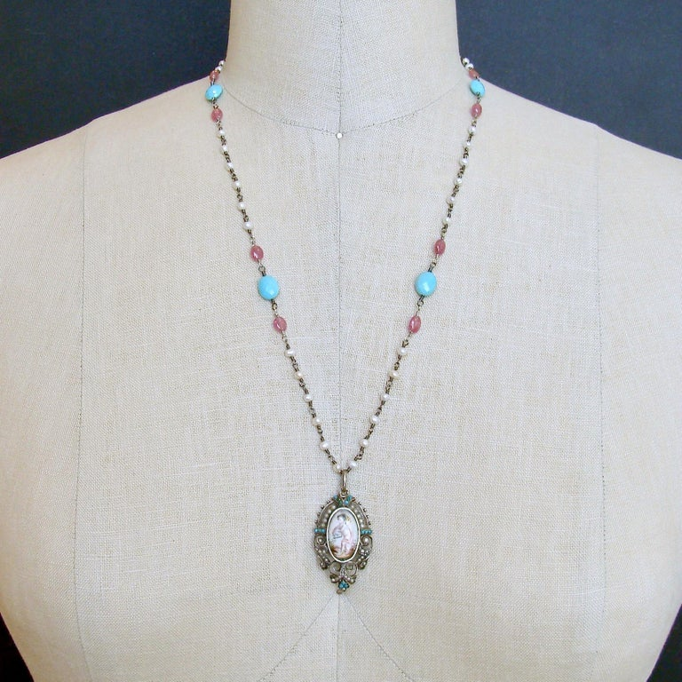 Turquoise Pink Sapphire Pearl Rubies Georgian Porcelain Mourning Locket Necklace For Sale 3