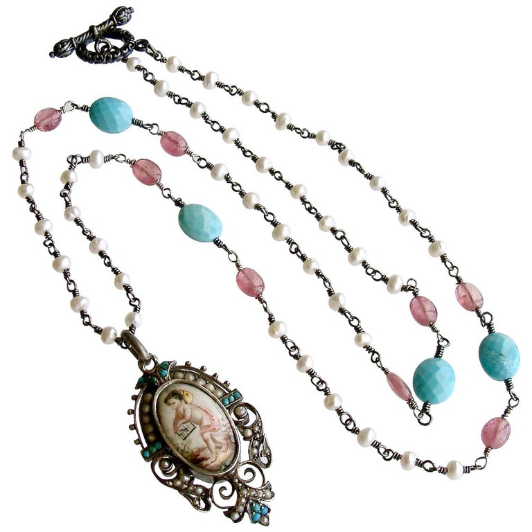 Turquoise Pink Sapphire Pearl Rubies Georgian Porcelain Mourning Locket Necklace For Sale