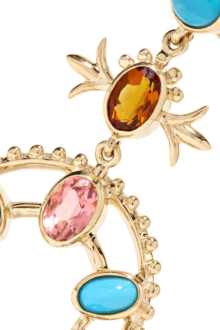 These Marlo Laz 14 Karat yellow gold turquoise, pink tourmaline, orange sapphire and orange citrin squash blossom earrings are inspired by the southwest and an ode to Native American Navajo jewelry.   From the Desert Rising collection, these
