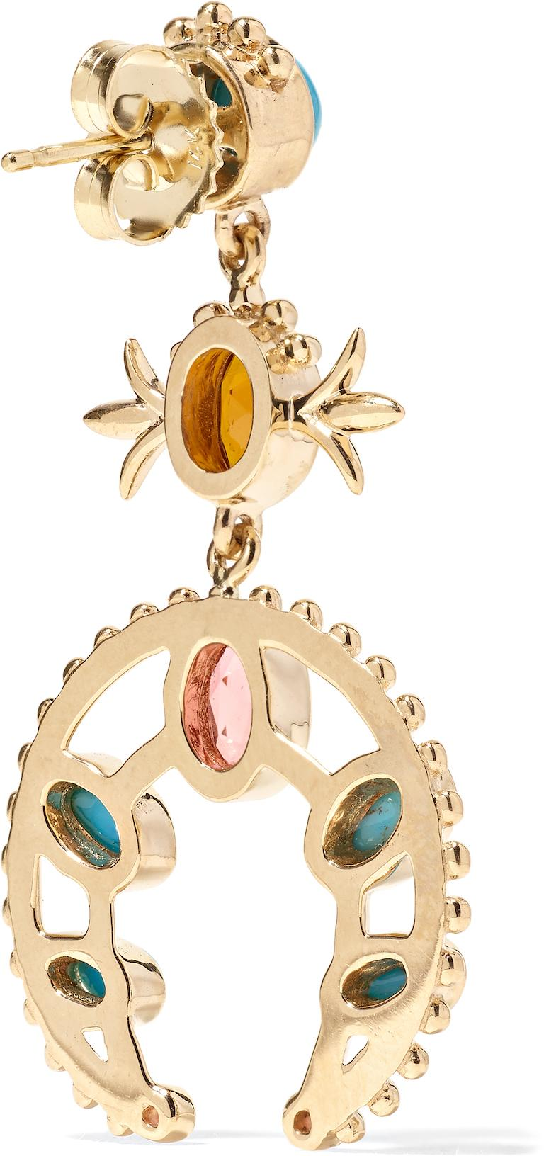 Contemporary Marlo Laz Turquoise Pink Tourmaline Sapphire 14K YG Squash Blossom Earrings For Sale