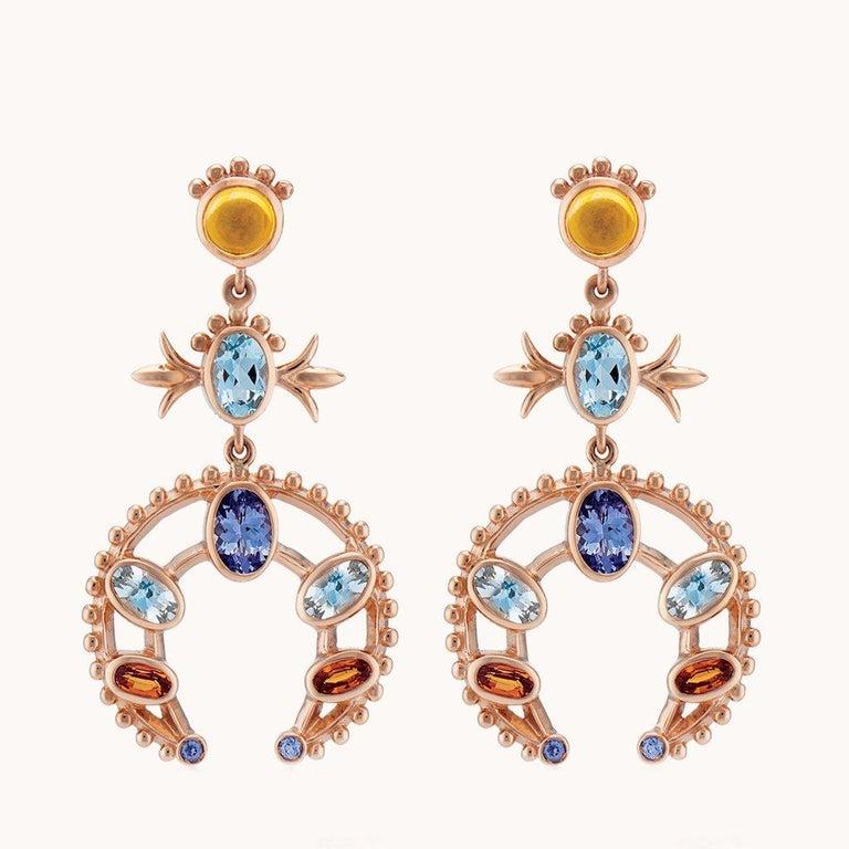Women's Marlo Laz Turquoise Pink Tourmaline Sapphire 14K YG Squash Blossom Earrings For Sale