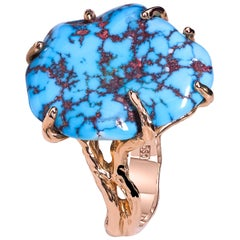 Turquoise Ring 14k Yellow Gold Natural Sleeping Beauty Christmas Gift Jewelry