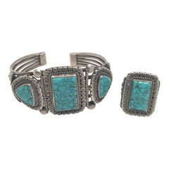 Turquoise Ring and Cuff Bracelet Set