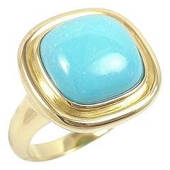 Turquoise Ring Set in 18 Karat Gold Settings
