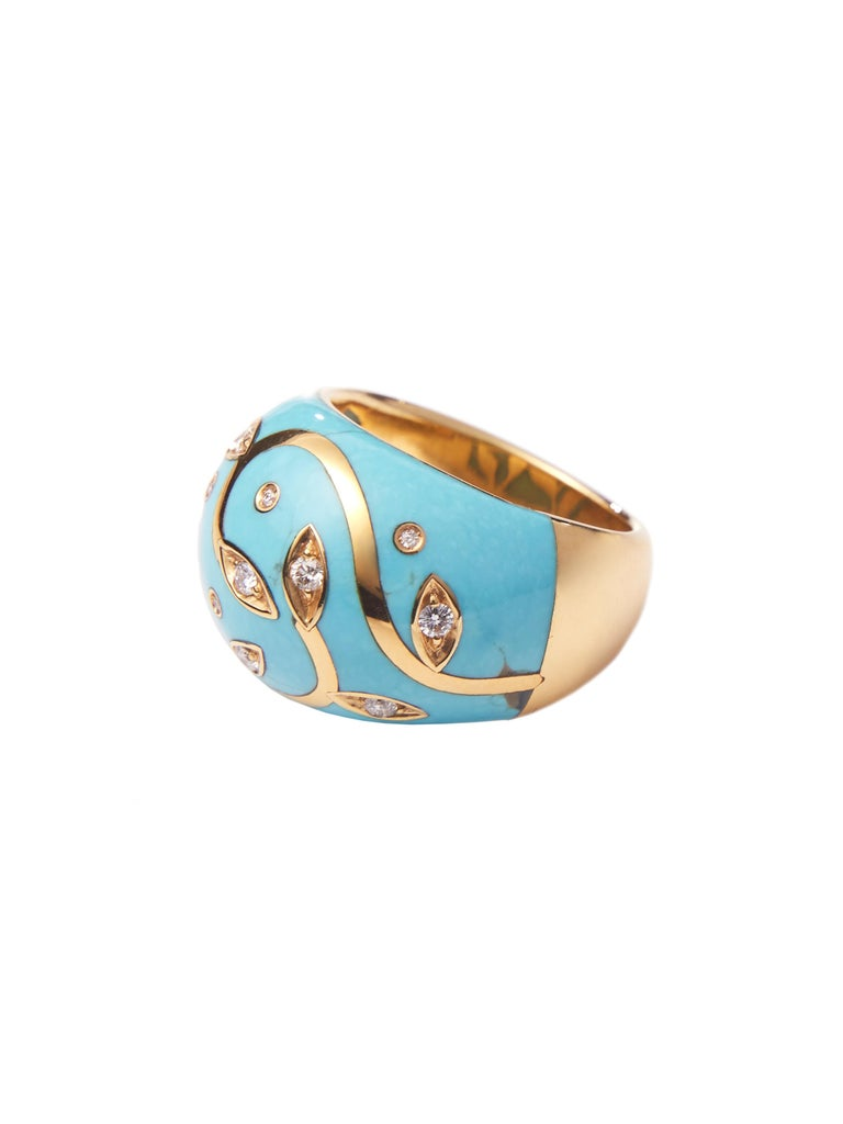 Artisan Turquoise Ring with Yellow Gold Inlay Set with Diamonds For Sale