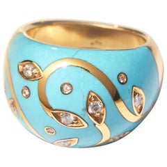 Turquoise Ring with Yellow Gold Inlay Set with Diamonds
