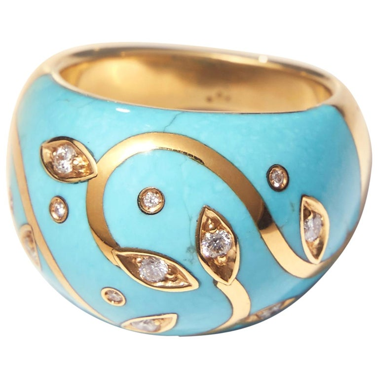 Turquoise Ring with Yellow Gold Inlay Set with Diamonds For Sale