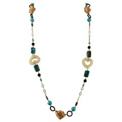 Turquoise, Rock Crystal, Pearls, Calcedony 9 Karat Gold and Silver Long Necklace