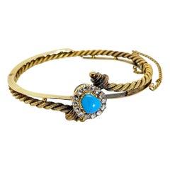 Turquoise Rose Cut Diamond and 14 Karat Yellow Gold Hinged Russian Bangle