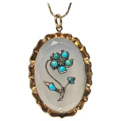 Turquoise Rose Diamond Chalcedony Pendant 15 Karat Gold c1880 Victorian Necklace