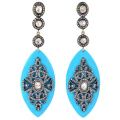 Turquoise Rosecut Diamond Earrings