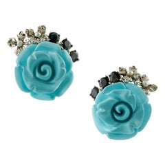 Turquoise Roses, Diamonds and Blue Sapphires Earrings