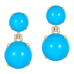 Turquoise Round Cabochon with Diamond Earrings